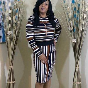 Dresses & Skirts - Stripped Plus Size Skirt Set
